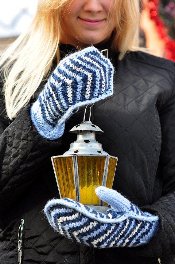 Варежки, вязаные варежки, синие варежки, Коренастый Рукавицы, мохер варежки, женские варежки, теплые варежки, скоро зима, Рождественский подарок