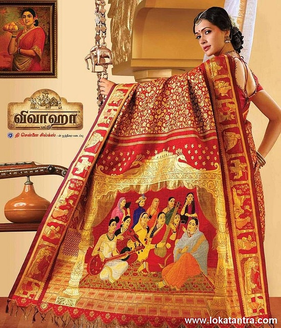 This is apparently one of the most expensive saree to have been made in South India - not too sure about the details. Creation by Sri Krishna Silks, Chennai