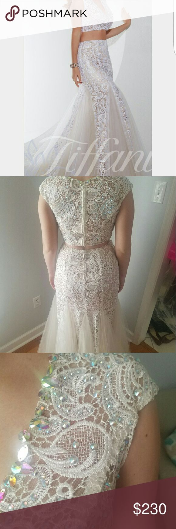 Stunning Prom dress White two piece v-neck  prom dress with a tan liner underneath. Tiffany Design  Dresses Prom