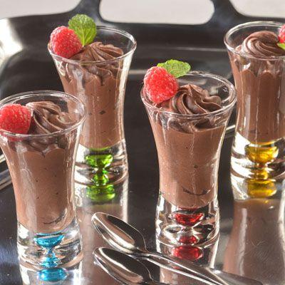 Dark Chocolate Raspberry Mousse Delights (Easy; 20 servings) #raspberry #mousse #darkchocolate
