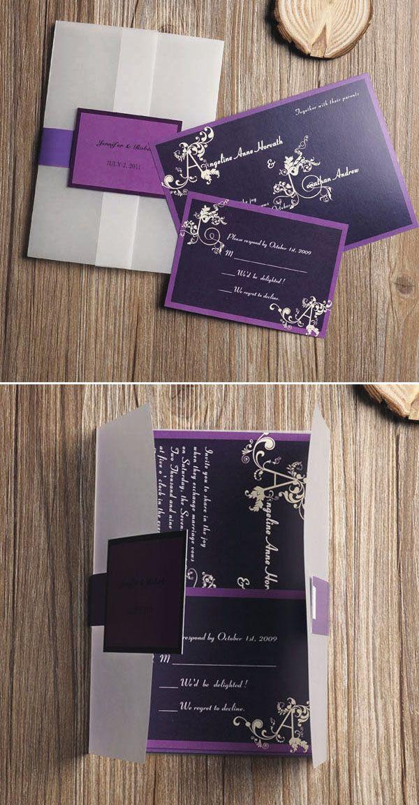 affordable purple vine monogram pocket wedding invitations