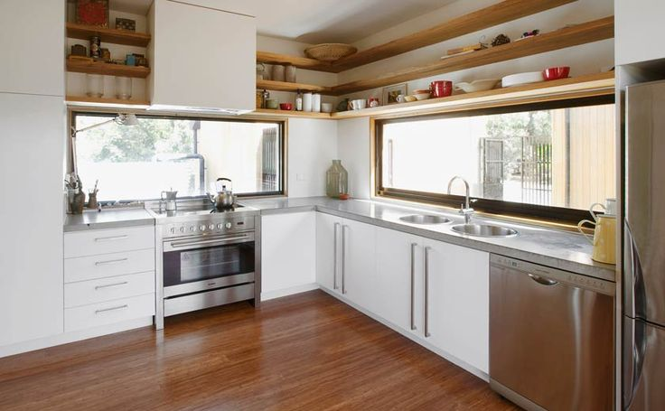 I just luv the idea of a window splash back behind the stove - lets more light in too!
