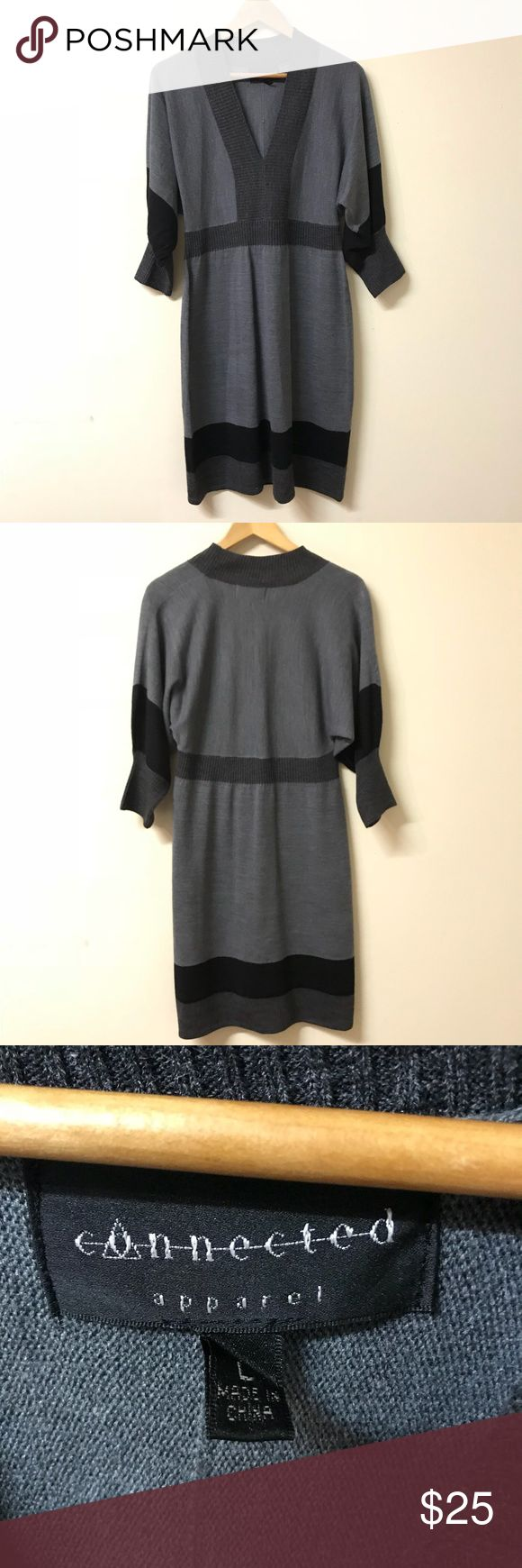 Gray & Black Sweater Dress Beautiful sweater dress by Connected Apparel. Size Large (measurements in last photo slot). New without tags! Connected Dresses