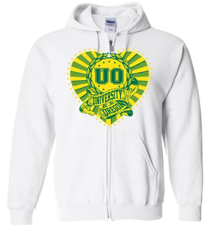NCAA University of Oregon Ducks UO Heart Emblem Zip Hoodie - orgn2021
