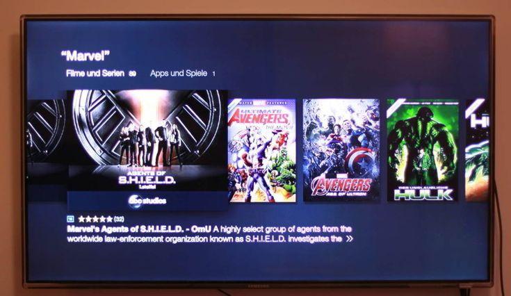 """Sprechen Sie in die Fernbedienung ein Schlüsselwort und schon zeigt das Amazon Fire TV mit 4K Ultra HD den passenden Content an - in diesem Fall """"Marvel""""."""