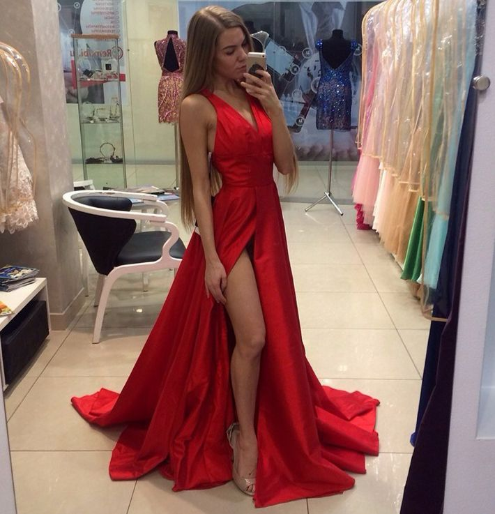 Women's Sexy A-Line V-Neck Red Long Prom Dresses For Sepical Occasion Dress High Slit Evening Gowns PD110