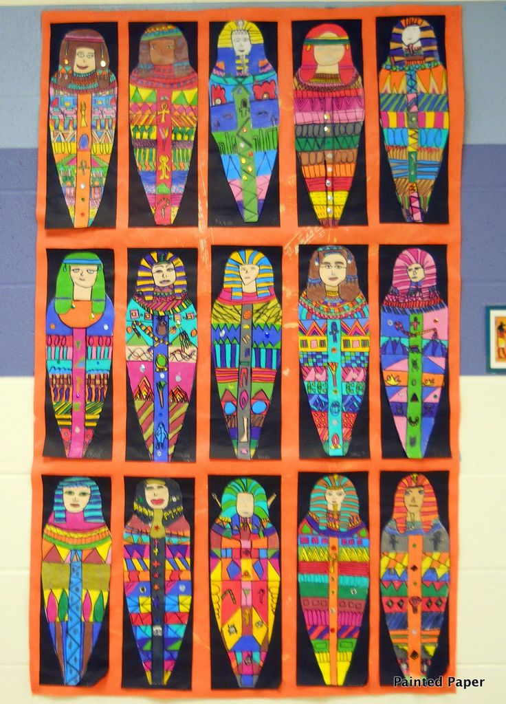 Egyptian Mummy Cases. Create a stencil for each table. Students trace mummy coffin on to paper. Then color the mummy coffin with heiroglyphics - something religious to make instead ???!!!