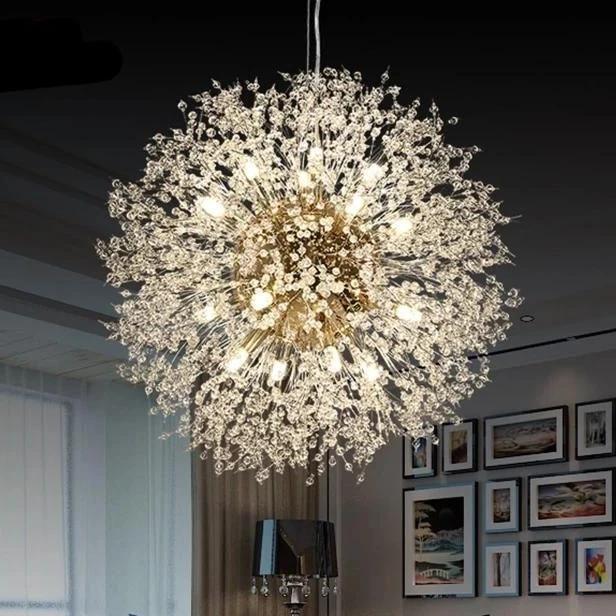 Modern Led Dandelion Crystal Chandelier Lighting Fixture Ceiling