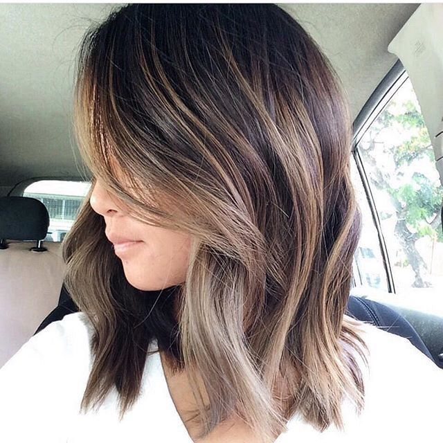 Balayage On Short Straight Brown Hair , hair coloring
