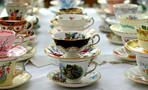 Vintage Wedding Ideas: Second-hand Dishes and Tableware. Make your place settings look formal with old tea cup & saucers. http://www.intimateweddings.com/blog/vintage-wedding-ideas-second-hand-dishes-and-tableware/#