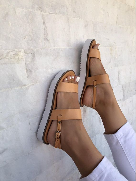 Brown Leather Sandals White Sole