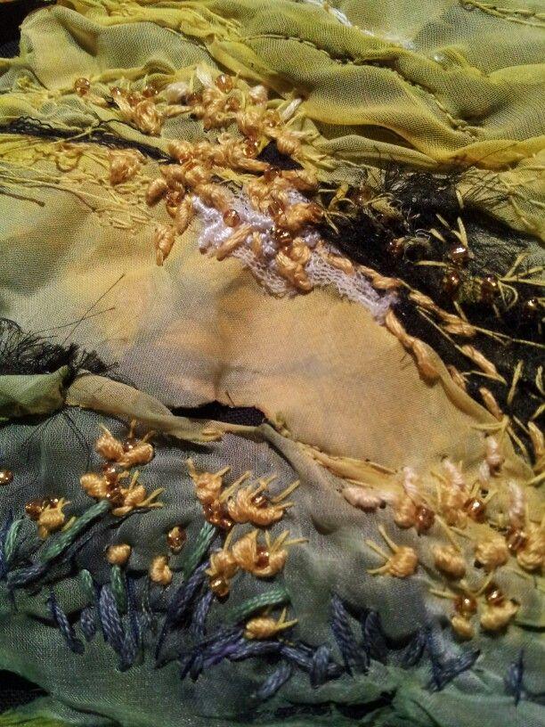 Section textile art Buttercup fields.  Laura Edgar www.lauraedgar.co.uk