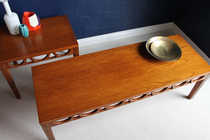 Avalon mid-century 1960s teak coffee table, top view