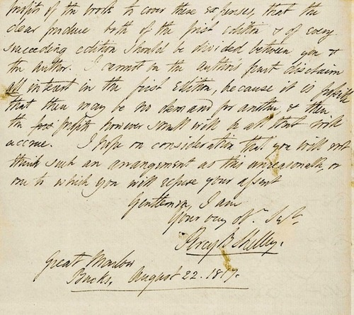 Percy Bysshe Shelley,A letter to Lackington's about Mary Shelleys Frankenstein, 1817