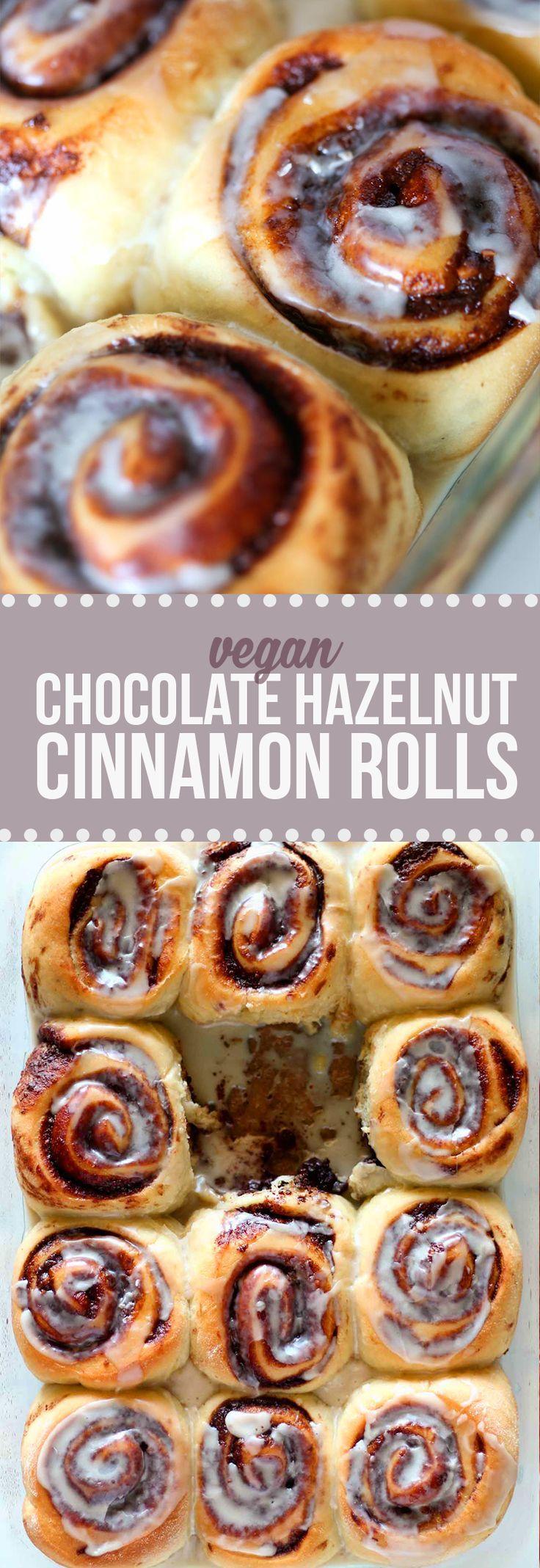 Moist, fluffy, sweet, drool-worthy VEGAN chocolate hazelnut cinnamon rolls!