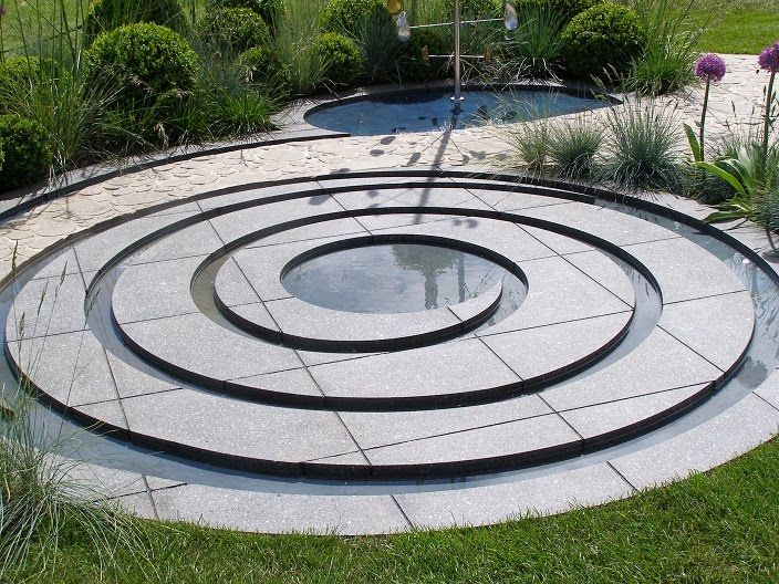 "Serenity in the Garden: ""Collision"" Spiral Water feature by Christopher Tessier"
