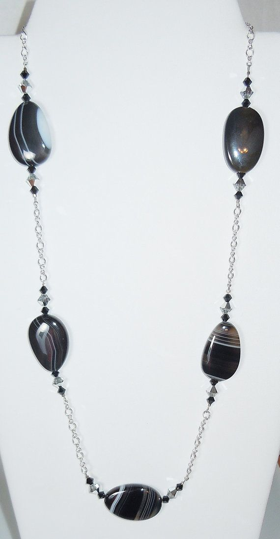Swarovski Crystal Beads and Black Agate Gemstone Necklace by BestBuyDesigns