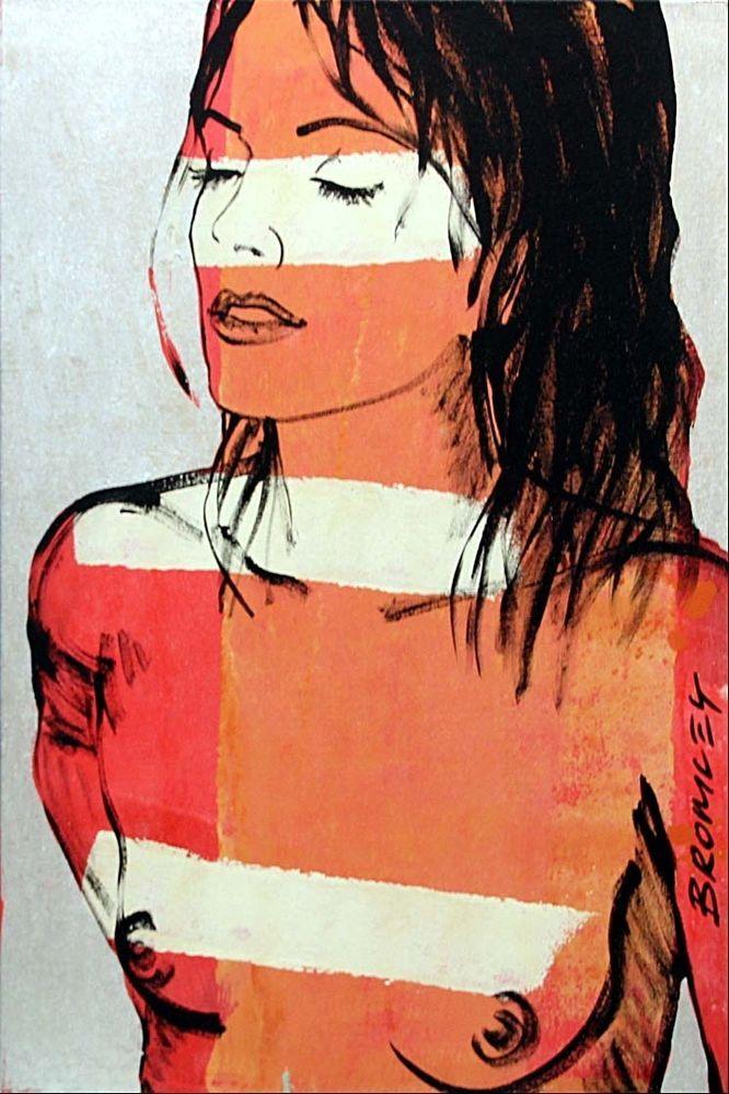DAVID BROMLEY Belinda Polymer & Silver Leaf on Canvas 90cm x 60cm