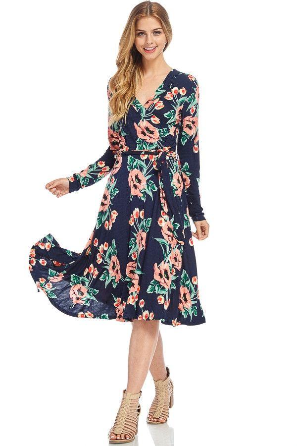 Sasha Navy Floral Wrap Dress