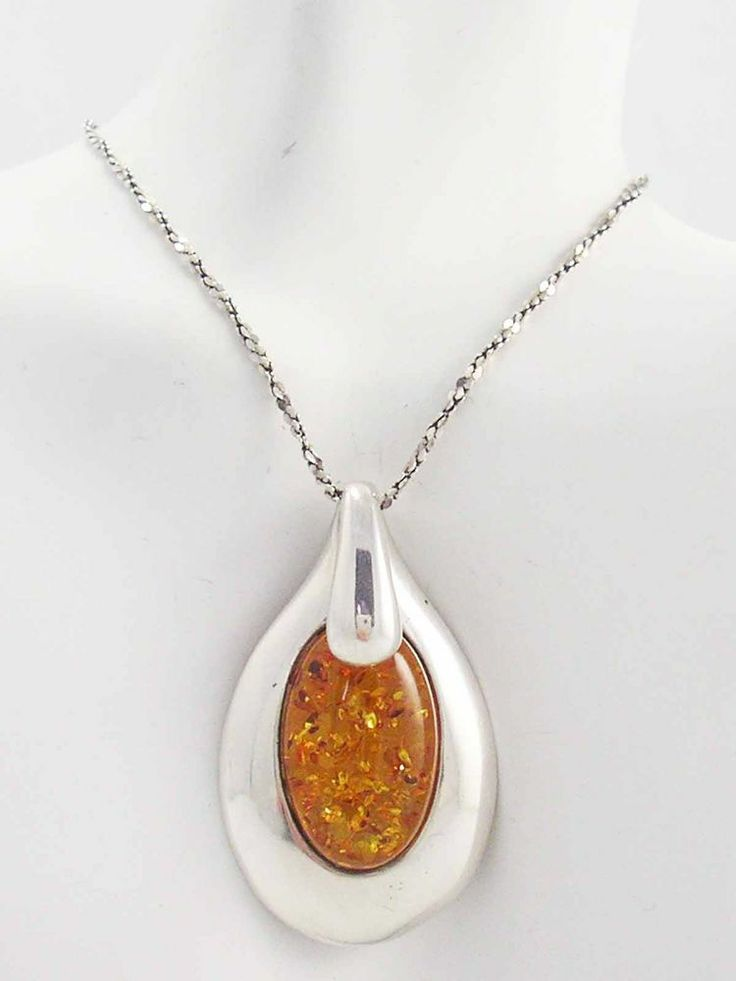 LUSCIOUS Sparkling Large Honey Amber Modernist Sterling Silver Pendant Necklace