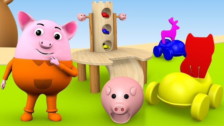 Learning Animals Names for Children with Baby Pig Playing with Kids Toy ...