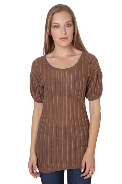 Online sale Mode Femme 1 / 7644 / Manoukian / Truien / Trui Mosterdgeel, Oranje & Goudkleurig