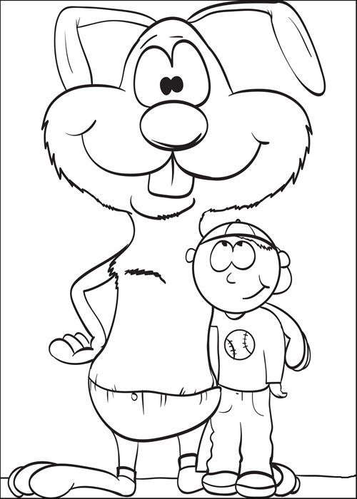 Coloring Page of a Bunny Standing With a Boy | Spring ...