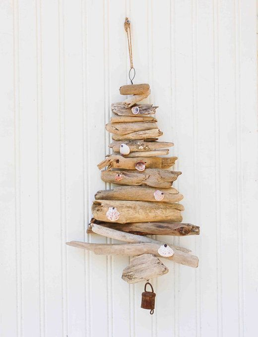 Driftwood tree mobile beach decor christmas tree nautical for Driftwood decor and design