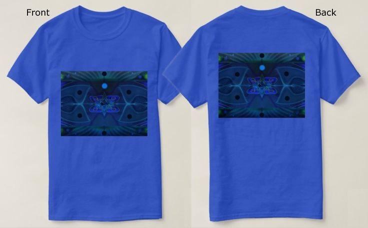 Men's Royal Blue T-Shirt with Blue, Green and Cyan Digital Art Image