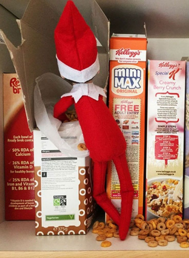 Creating some gentle mischief is part of your Christmas elf's charm - have fun coming up with creative ideas for tricksyour elf can play on the kids!Simple ideas include dropping green food colouring into milk, turning the toilet water glittery, setting up a 'zip wire' for theelves to play on, rearranging things, or spilling cereal on the shelf.