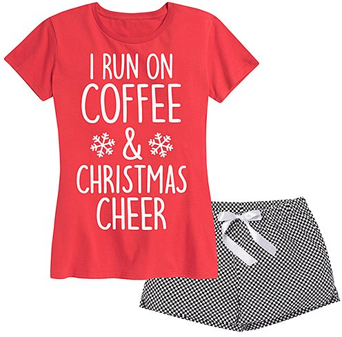 Red & Black Gingham 'Christmas Cheer' Shorts Pajama Set - Women. Make a perky holiday statement in this graphic tee that's paired with shorts because you'll be cozy and comfy inside no matter how chilly it gets outside. {affiliate link}
