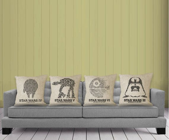 "Four pillowcases fit for any Jedi's couch. | 25 Ways To Make Your Home A ""Star Wars"" Heaven"