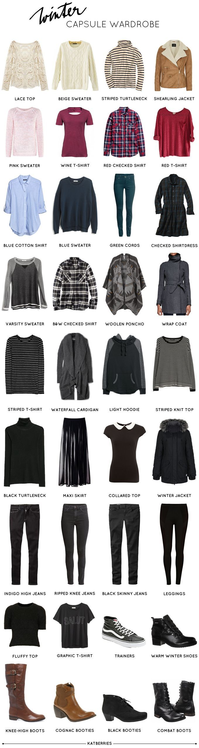 Katberries: My winter capsule wardrobe or What I'll be wearing for the next three months. Love it!