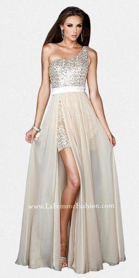 La Femme One Shoulder Sequined Sheer Overlay Prom Dresses by on shopstyle.com