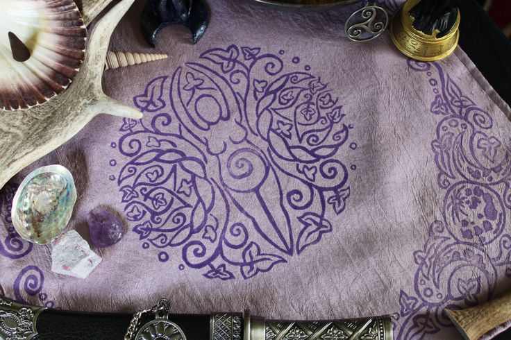 Hand Printed and Double Sided Spiral Goddess Altar Cloth by Imogen Smid of the Stag's Head Studio - Triple Moon, Wiccan Altar, Wicca, Pagann Altar, Neopagan, Mother Goddess, Triple Goddess
