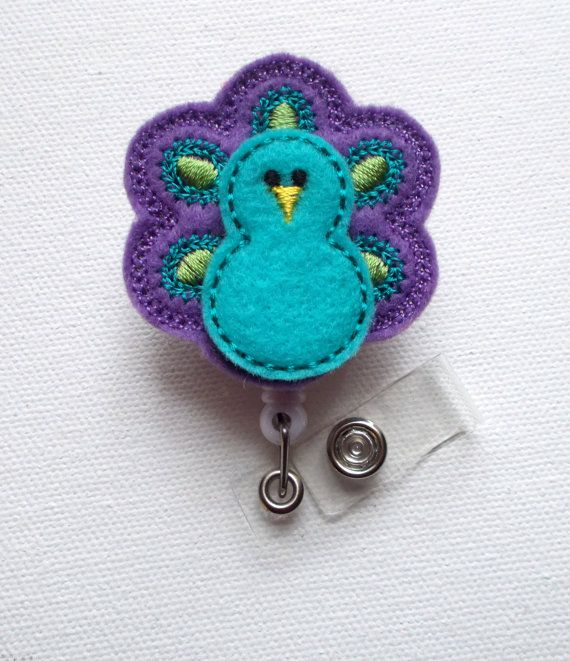 Blue and Purple Peacock  Retractable ID Felt Badge by JeJeweled, $6.00