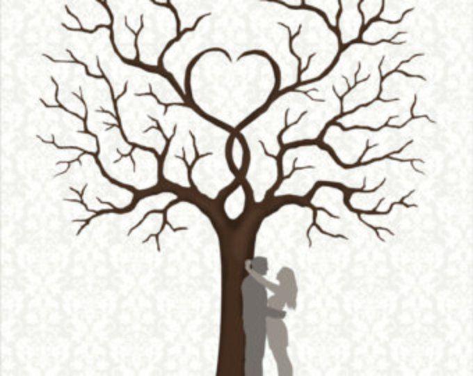 Guest Book matrimonio, Wedding Guestbook Fingerprint firma albero con coppia sagoma personalizzata colore, dimensioni, testo - digitale JPEG stampabile