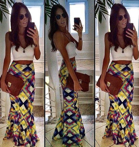 Skirt: maxi, maxi skirt, crop tops, summer outfits, summer, spring ...