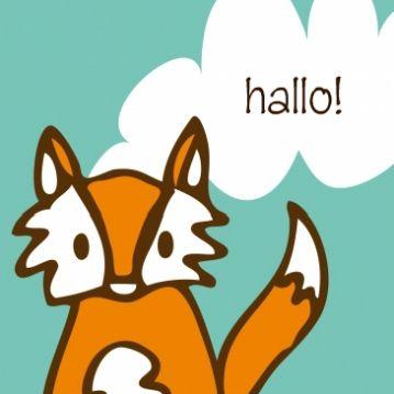 Hip geboortekaart met vosje Birth announcement card with cute fox designed by Zoe Brench www.studioellienzo.nl