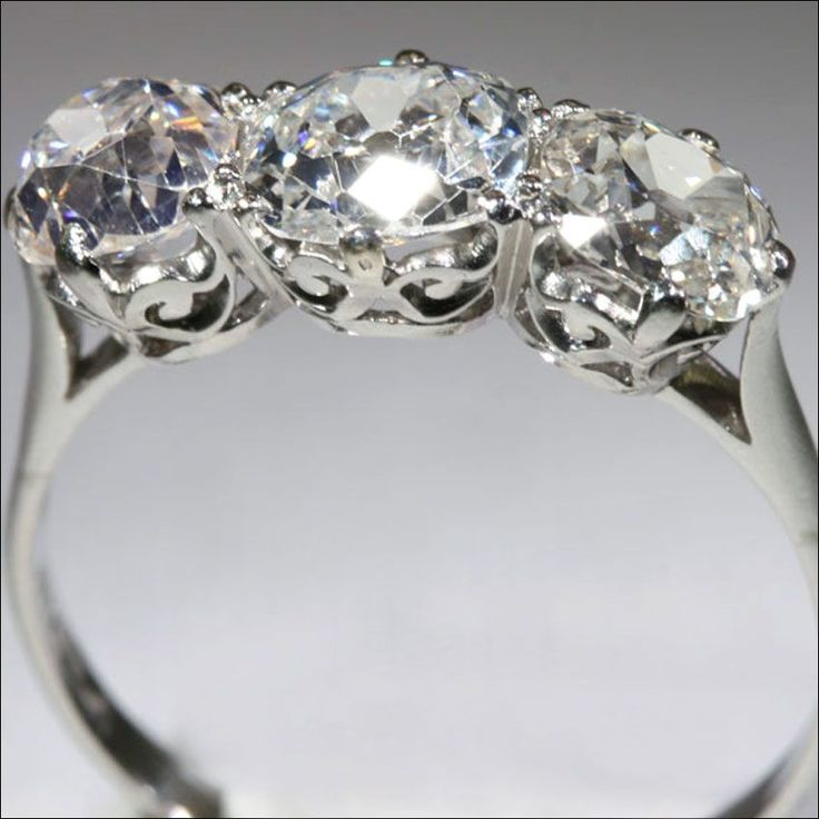 2 5 Carat Vintage Edwardian 3 Stone Platinum Diamond Engagement Ring