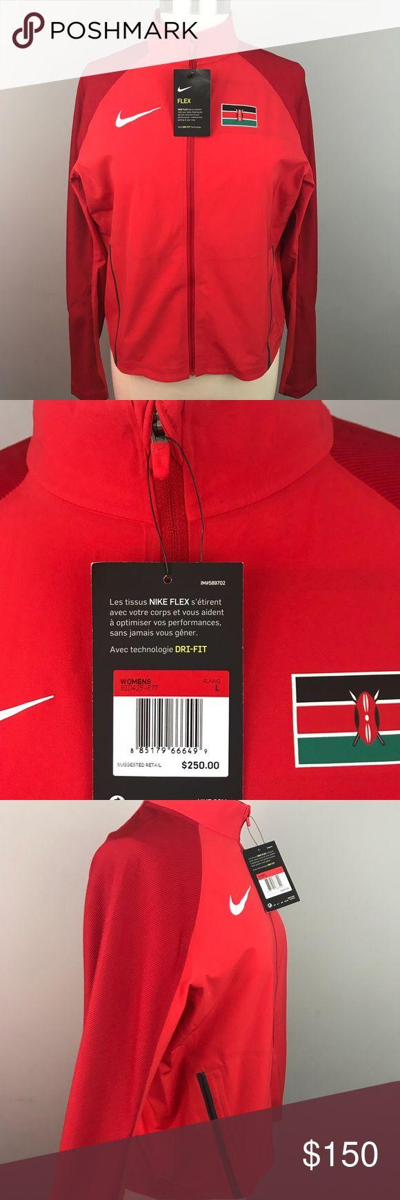 Nike • Flex Kenya Olympic Running Jacket Red, RARE NWT • Nike • Flex Kenya Olympic Running Jacket Red, RARE  • Flex Dri-Fit Stretch Full-Zip Jacket • Bonded, Zippered Pockets • Kenya, Olympic Team Running Jacket  • Red • NWT, NEW, Brand New, Never Worn Nike Jackets & Coats