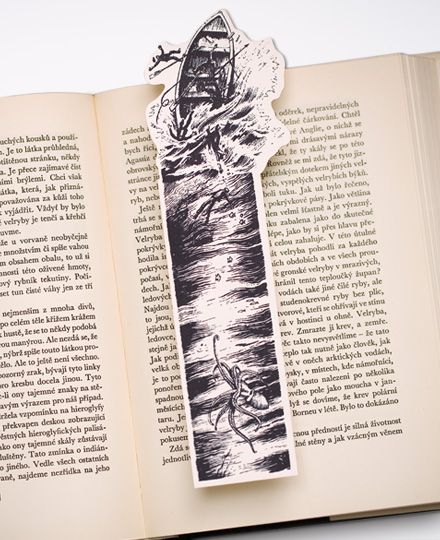 Moby Dick Bookmark, broken boat after the sperm whale fight