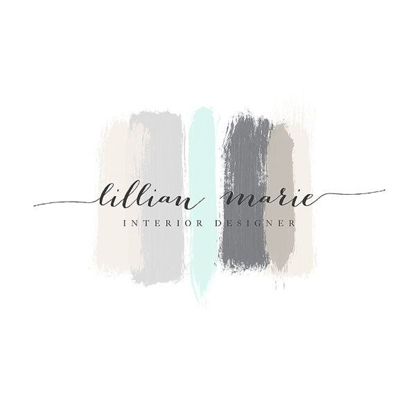 Premade Logo Branding Watercolor Paint Chic Beautiful High Resolution Script Calligraphy Pretty Watercolor Brush Strokes Designer Logo