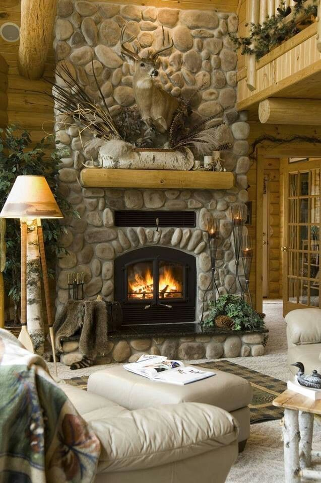 [Rustic Lodge Great Room] I Like The Light Colored Leather Sofa And Chair  In Front Of The Stone Fireplace. This Would Help The Living Room In The Log  House ...