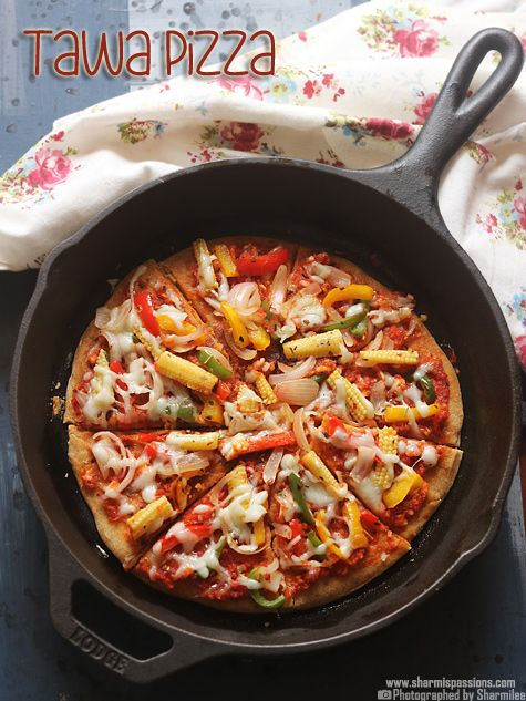 Tawa pizza recipe without oven   Stove top pan pizza   No yeast pizza recipe
