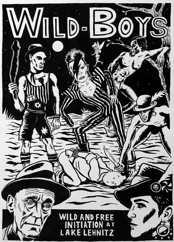 Current exhibition: Neal Fox – Lust for Life Today with David Bowie at Lehnitzsee (Lake Lehnitz) near Berlin.  Neal Fox, Wild Boys, 2015, Ink on paper Tusche auf Papier, 59,5 x 42 cm