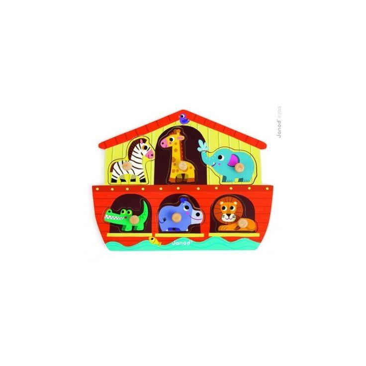 Puzzle s krásným motivem Noemovy archy potěší děti veselými barvami. Puzzle jsou vyrobené z masivního dřeva a jednotlivá zvířátka mají úchytky pro lepší manipulaci.