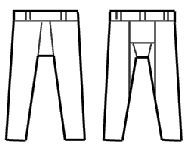 A sketch of the pattern is shown to the right, and a linen reproduction is shown to the left. The original had belt loops on the waistband, and feet attached to the legs, which were not reproduced here. Detailed information, sewing instructions, and patterns for this reproduction may be downloaded from the Hurstwic library.