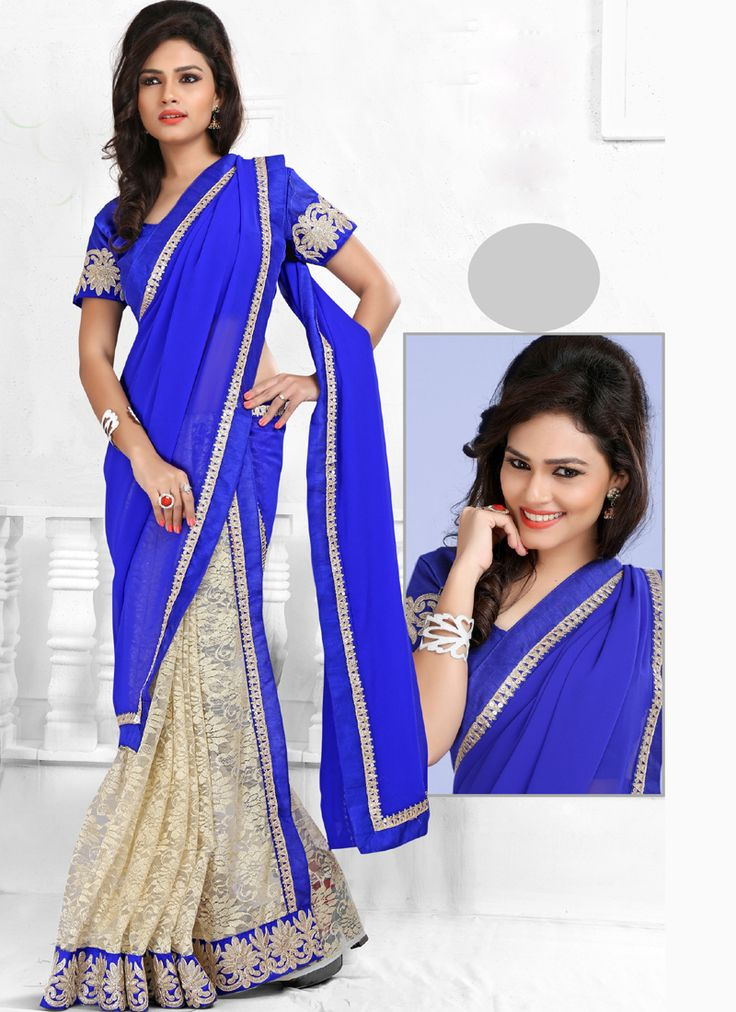 Casual Wear Blue #Indian #Saree Visit: http://www.indiansareestore.in/sarees/casual-sarees