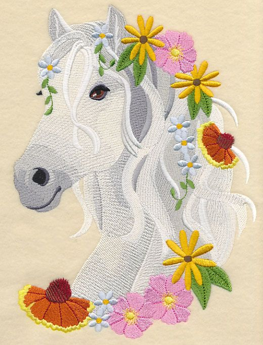 Horse in Wildflowers design (M4515) from www.Emblibrary.com